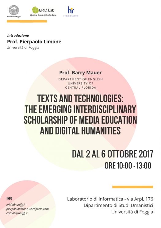 "Workshop ""Texts and technologies: The emerging interdisciplinary scholarship of media education and digital humanities"" – Prof. Barry Mauer"